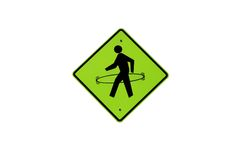 Waking Man Sign with Hula Hoop royalty free stock photography