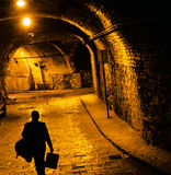 Waking Person Underground Tunnel for Traffic, Guanajuato, Mexico. Person Walking Tunnels from the Silver Mines are Underground the Famous City of Guanajuato Royalty Free Stock Image