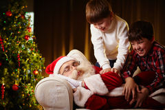 Waking Santa Stock Photography