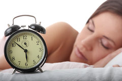 Waking up. Beautiful Caucasian woman waking up in the morning Stock Images