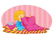 Waking up. Illustration of a child making her bed Stock Images