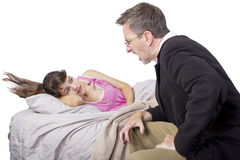 Waking Up Daughter Royalty Free Stock Images