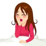 Waking Up Girl Yawning Stock Photo