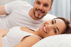 Waking up with smile. Royalty Free Stock Photos