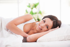 Waking up with smile. Royalty Free Stock Image