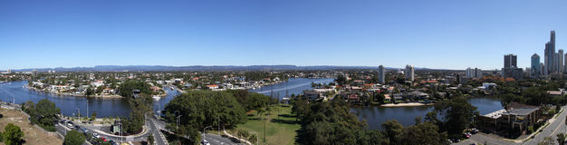 Waking up to Paradise. Panorama shot of Surfers Paradise in Gold Coast overlooking the canals Stock Photography