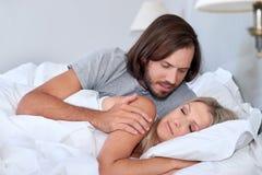 Waking up wife man Royalty Free Stock Photo