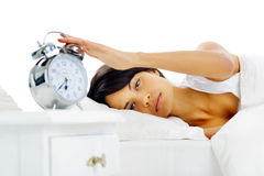 Waking up woman Stock Image
