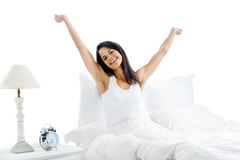 Waking up woman Stock Photo