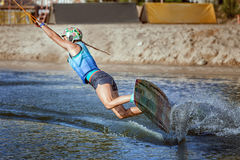 Waking on a wakeboard. Stock Image