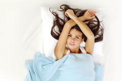 Waking woman Royalty Free Stock Photo
