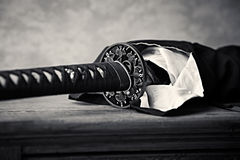 Wakizashi, Traditional Japanese Sword (close-up) Stock Photo