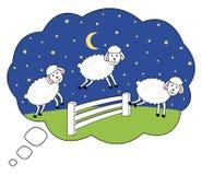 Wakker bij nacht Tellende Schapen De droombel van de slapeloosheidsillustratie royalty-vrije illustratie