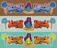 wal砖的街道画 免版税库存照片