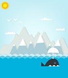 Wal, der auf einen Hintergrund von Bergen schwimmt Lizenzfreie Stockbilder