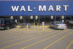 Wal * Mart Supercenter Store  front entrance and parking lot in Southeast USA Royalty Free Stock Images