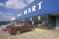 Wal * Mart Supercenter Store  front entrance and parking lot in Southeast USA Stock Image