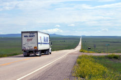 Wal-Mart truck. Belle Fourche, USA - June 18: The recession has brought wealthier customers to Wal-Mart looking for bargains, the AP reports. Wal-Mart truck is royalty free stock images