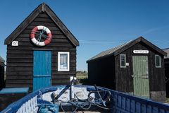 Walberswick boat huts in Suffolk stock image
