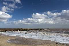 Walberswick Harbour Wall, Suffolk, England Stock Photo