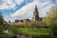 Walburgiskerk and city walls in Zupthen, Holland royalty free stock photo