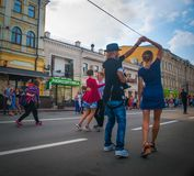 walc spacer w centrum miasta Zdjęcia Stock