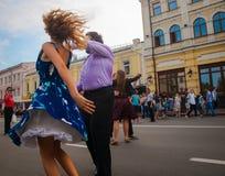 walc spacer w centrum miasta Obraz Royalty Free