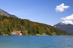 Walchensee lake and autumn forest Royalty Free Stock Photo