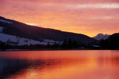 Walchensee Oostenrijk - Zonsondergang Stock Fotografie