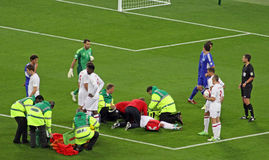 Walcott injuried. Injury of English player Theo Walcott during England-San Marino, valid for the World Cup Qualification at Wembley Stadium Stock Image
