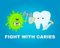 Walczący ząb z próchnicami koncepcja zdrowe zęby choroby bitwa atakujący zarazkami próchnicy Zdjęcia Stock