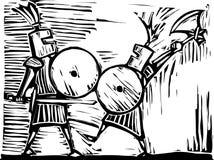 walczący rycerze Zdjęcia Stock