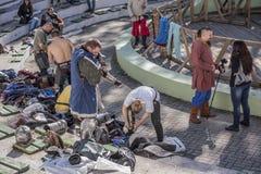 Walczy rycerzy w arenie park W Cherevichkin Obraz Stock