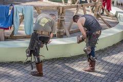 Walczy rycerzy w arenie park W Cherevichkin Fotografia Stock
