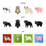 Wald, Ökologie, Spielwaren und andere Netzikone in der Karikatur, Schwarzes, flache Art Tiere, Bauernhof, Unternehmensikonen in d Lizenzfreie Stockfotografie