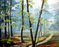 Wald-acrylsauer auf Segeltuch-Malerei Lizenzfreies Stockbild