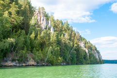 Wald auf der Bank des Sees Stockfotos