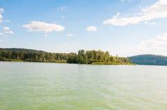 Wald auf der Bank des Sees Lizenzfreie Stockbilder