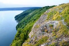 Wald in den Bergen gegen das blaue Meer Stockbild