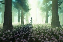 Wald der Frau morgens stock abbildung