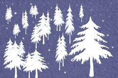 Wald der weißen Weihnachtsbäume stock abbildung