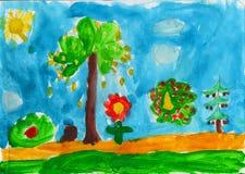 Wald im Herbst, childs Malerei stock abbildung