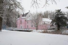 Wald im Winter mit weißem Schnee und einem rosa Schloss Stockbilder