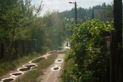 Wald, landwirtschaftlich, Landstraße mit vielen Pfützen, laufend die Häuschen durch lizenzfreie stockbilder