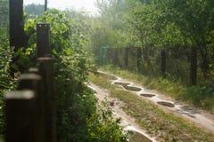 Wald, landwirtschaftlich, Landstraße mit vielen Pfützen, laufend die Häuschen durch, lizenzfreies stockfoto