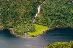 Wald mit Wasserfall und Fluss Stockfotografie
