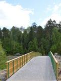 Wald, Natur, Brücke, Landschaft, Straße, Berg, Baum, Weg, Holz, Sommer, Park, hölzern, Himmel, Berge, Bäume, Grün, Fluss, tr lizenzfreie stockfotos