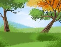Wald und Jahreszeitvektor Stockfotografie