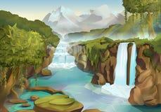 Wald- und Wasserfalllandschaft lizenzfreie abbildung