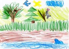 Wald und wilde Tiere Zeichnung eines Vaters und des Sohns Lizenzfreies Stockbild